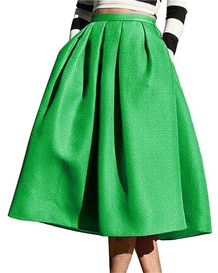 Yonglan Mujeres Color Solido Vintage Falda Plisada A-Line con ...
