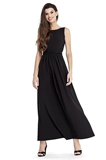 158c7fb2142 VILONNA Women s Semi Formal Long Maxi Dresses Sexy Summer Belted Sleeveless  Evening Maxi Dress (Black