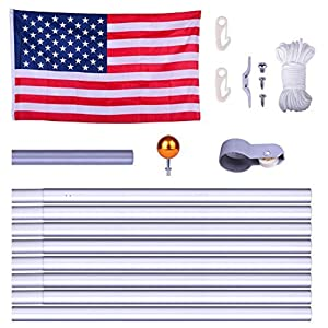 WindStrong® 25 FT Heavy Duty Residential Flag Pole Complete Set with Valley Forge 4x6 FT US American Nylon Flag