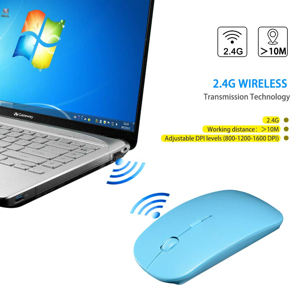 2.4GHz Bluetooth Slim Portable Computer Mice with USB Nano Receiver for Mac PC Laptop Computer White Wireless Mouse