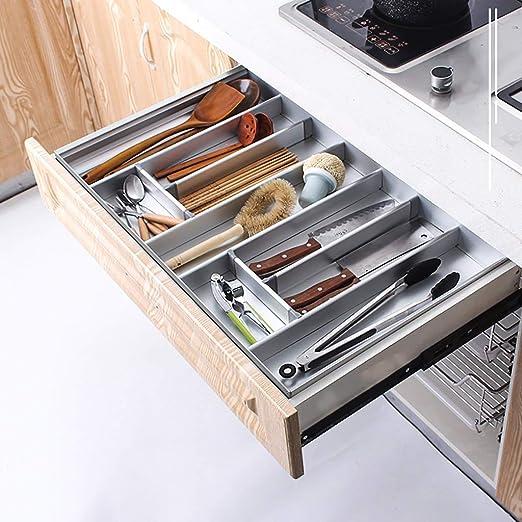 LIZICTSN Cutlery Tray Bandeja de Aluminio Cubiertos con ...