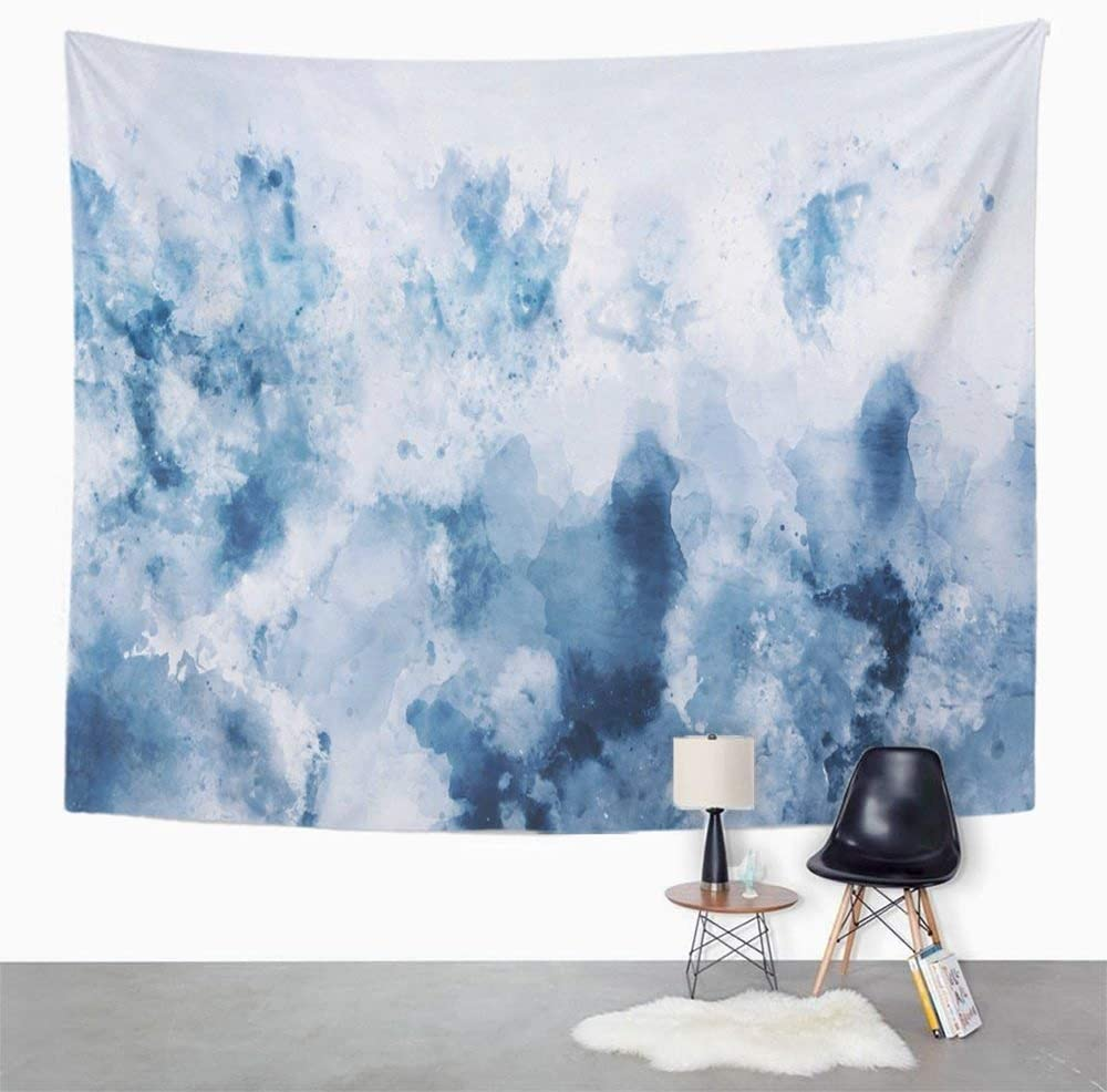 Amazon Com Emvency Tapestry Print 60x80 Inches Cold Abstract Watercolor In Blue Silver And Gray Tone Digital Painting Cool Wall Hangings Home Decor Kitchen