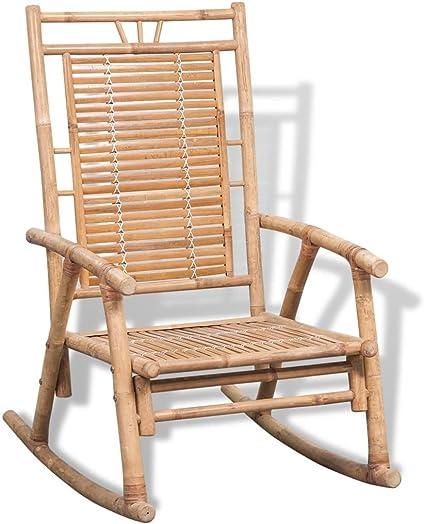 Festnight Outdoor Bamboo Rocking Chair, Garden Porch Rocker