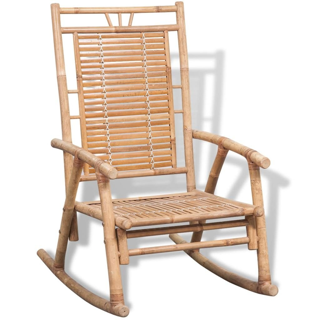 Festnight Outdoor Bamboo Rocking Chair, Garden Porch Rocker