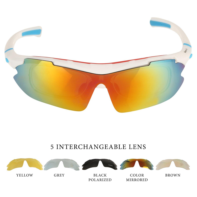 Lentes de Sol para Deportes al Aire Libre. Para Ciclismo, Carrera, Automovilismo, Pesca ,Ciclismo de Montaña , 5 lentes intercambiables (1 polarizado, ...