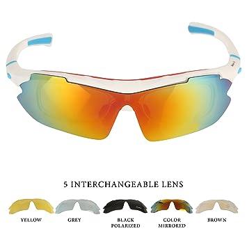 Lentes de Sol para Deportes al Aire Libre. Para Ciclismo, Carrera, Automovilismo, Pesca ,Ciclismo de Montaña , 5 lentes intercambiables (1 ...