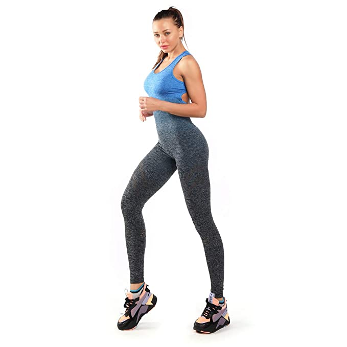 ACTICS Womens Seamless Tight Yoga Jumpsuit Sleeveless Backless Hollow Out Sport Bodysuit for Gym Workout Fitness