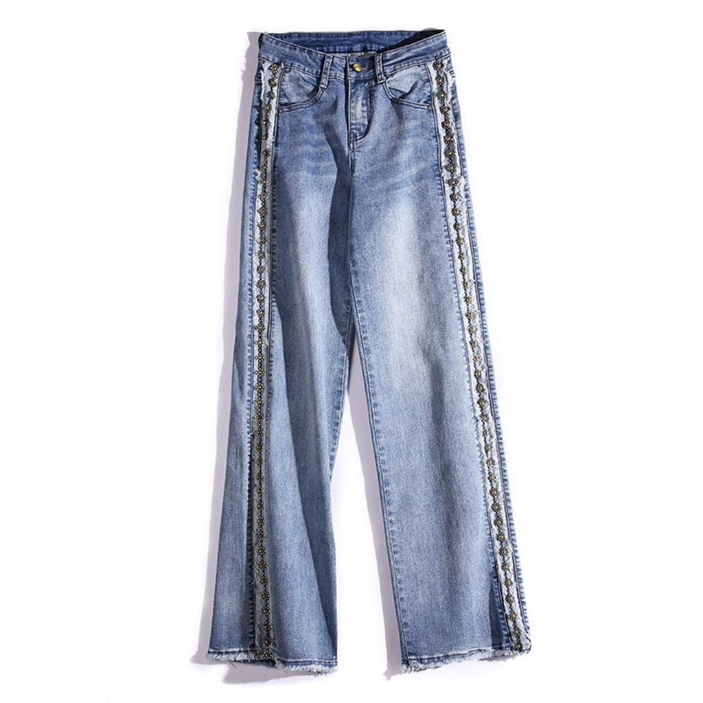 bluee High Waist Straight Jeans Female Loose Raw Edge Heavy Work Beaded Wide Leg Pants Trousers Female Personalized Beading Pants Length 102105cm (color   bluee, Size   30)