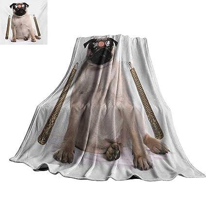 Amazon.com: Pug,Fleece Blanket Ninja Puppy with Nunchuk ...