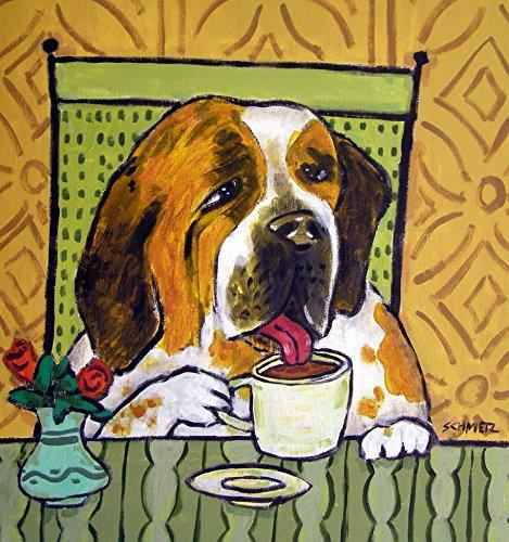 St. Bernard at the Cafe Coffee Shop dog art tile coaster gift -