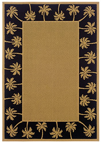 Palm Tree Border Rug - Moretti Bali Indoor/Outdoor Area Rug 606K5 Outdoor Beige Trees Palm 3' 7
