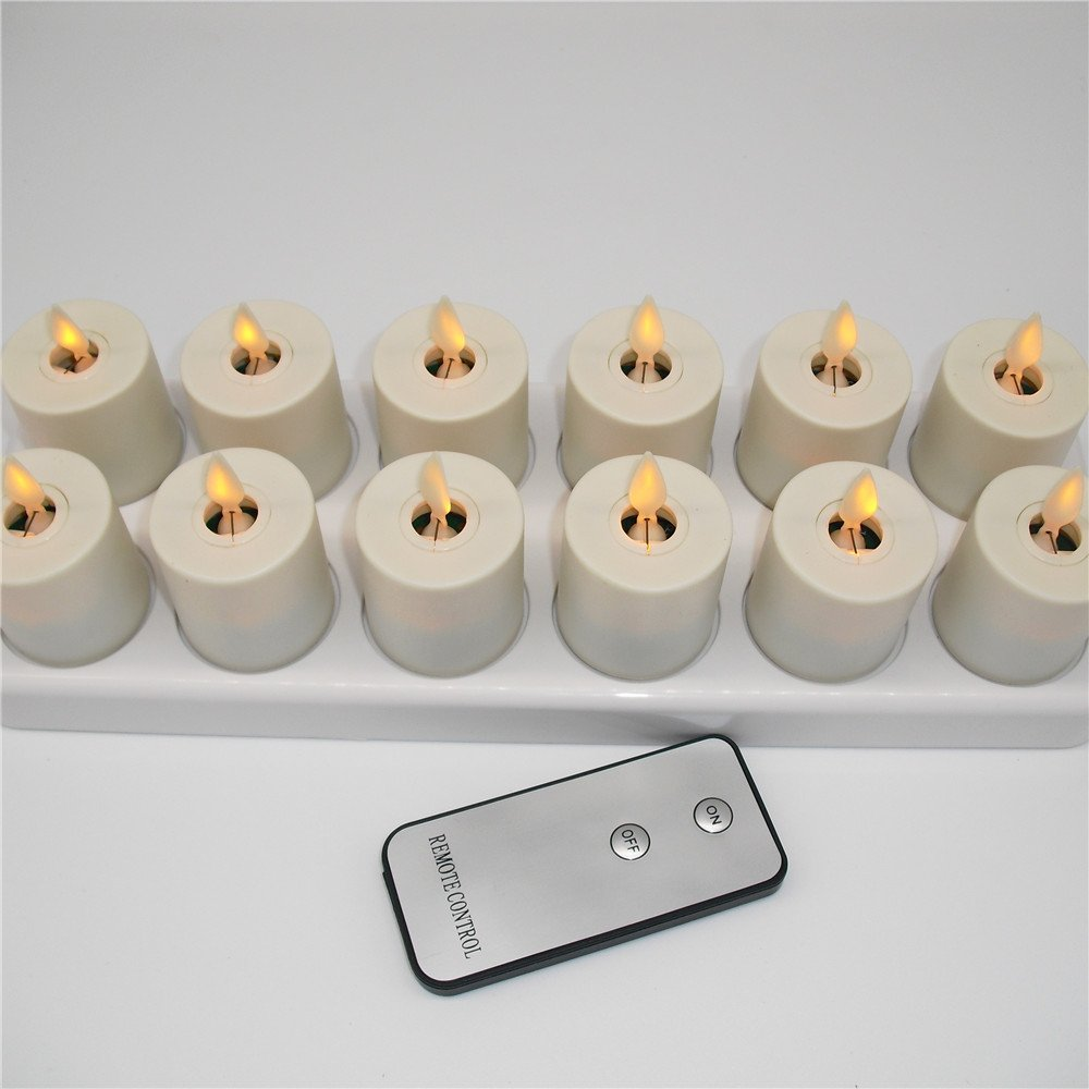 NONNO&ZGF 3D LED Dancing Light Votive Candles with Rechargeable Base and Remote - Set of 12 by NONNO&ZGF (Image #3)