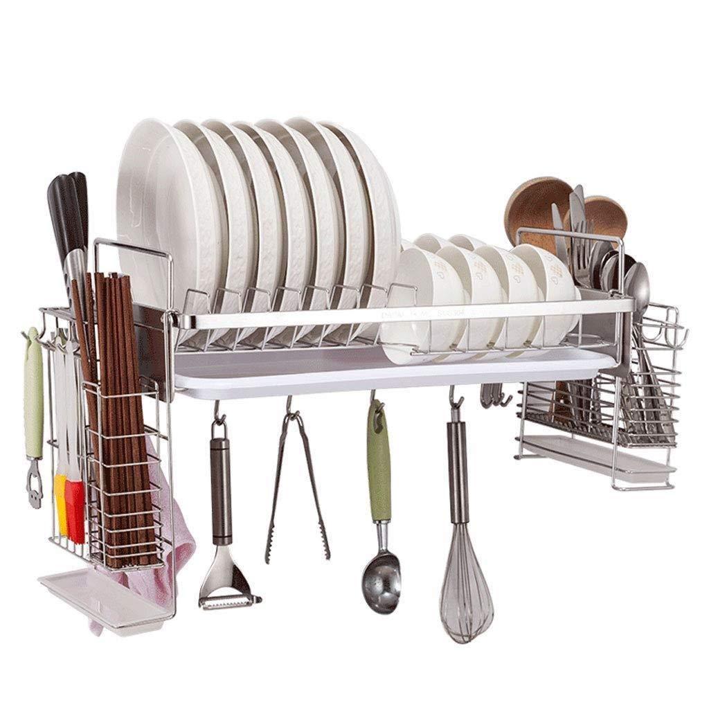 ステンレス鋼皿ラックドレインラックキッチンラック壁掛け壁家庭用皿ぶら下げ食器収納ボックス WJuian B07RTVGJMD