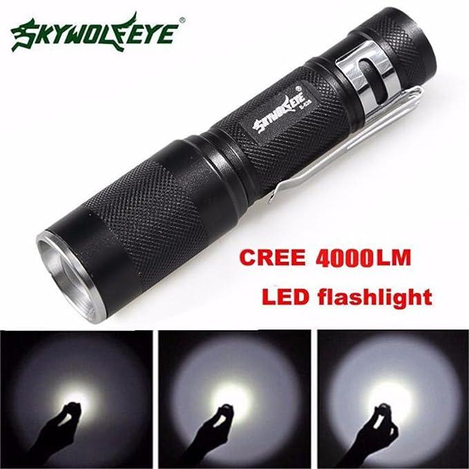 SkyWolfeye 8000 LM  Q5 LED Flashlight Zoomble Mini Torch Light Lamp AA 14500 FZ