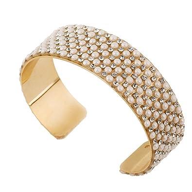 Fashion vintage jonc en optique d or avec perles   décoré avec  strass diamants f73046343f0f