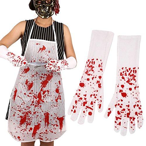 Kicode Adults Halloween Nurse Bloody Cross Gloves Long