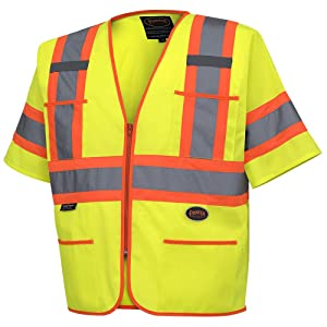 Pioneer High Visibility Tricot Sleeved Safety Vest, Reflective Tape, 4 Pockets, Yellow/Green, Unisex, 2XL, V1023560U-2XL
