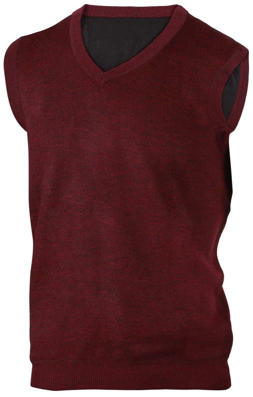 Enimay Mens Argyle Plain V-Neck Sweater Vest