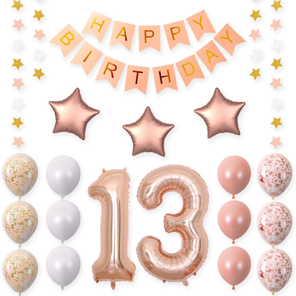 40 inch 13 Rose Gold Foil Balloons for 13th Birthday Party Decorations Supplies,Rose Gold Hang Happy BirthdayBalloons Banner, Number 13 Balloons,Gold Confetti Balloons. by CUEA