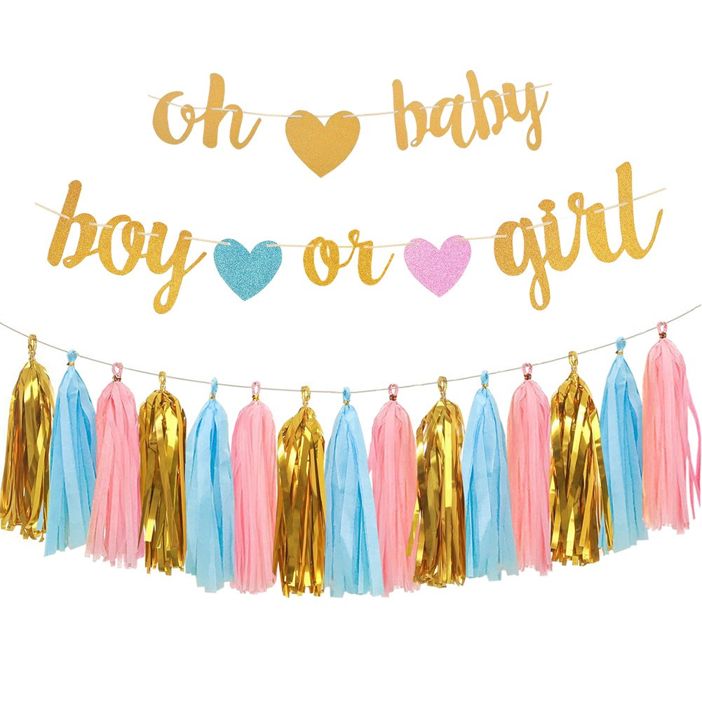 Gender Reveal Party Decorations - Glitter Letters OH BABY and BOY OR GIRL With Hearts Banner, Tissue Paper Tassels Garland Set for Baby Shower Party Decorations by Aonor
