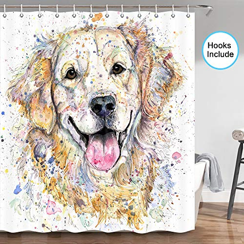 JAWO Dog Shower Curtain, Funny Golden Retriever Dog Humorous Cute Funny Watercolor Cool Puppy Picture, Fabric Bathroom Curtain with Shower Curtain Hooks?70 in
