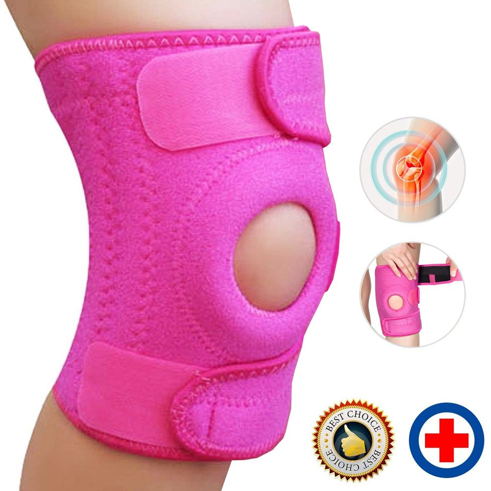 Beeme Kness Brace, Arthritis ACL Meniscus Tear Sports, Best Knee Brace Open Patella Dual Stabilizers Non-slip Comfort Neoprene Adjustable Bi-Directional Straps One Size in Pink by by Beeme