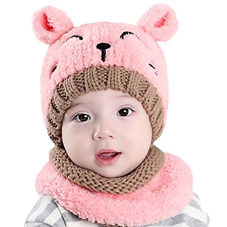 1407cdaf CoolKo Winter New Children Collar Plus Velvet Cap Baby Hat Cartoon Cat  Design Set for Boy and Girl Age: 1 to 2 Years Old [Pink]: Amazon.in: Baby