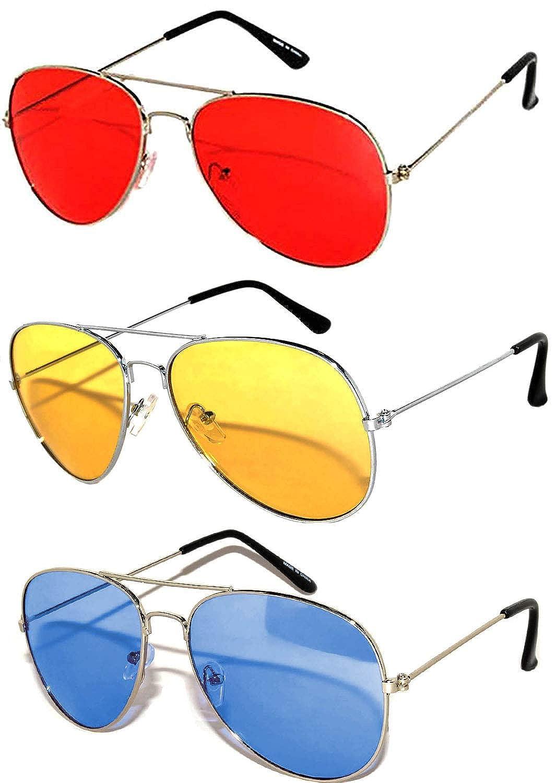 4407d81bc5227 Amazon.com  3 Pack Aviator Sunglasses UV Protection Color Lens Metal Frame  Unisex (3-pack-avi-red-yell-blu