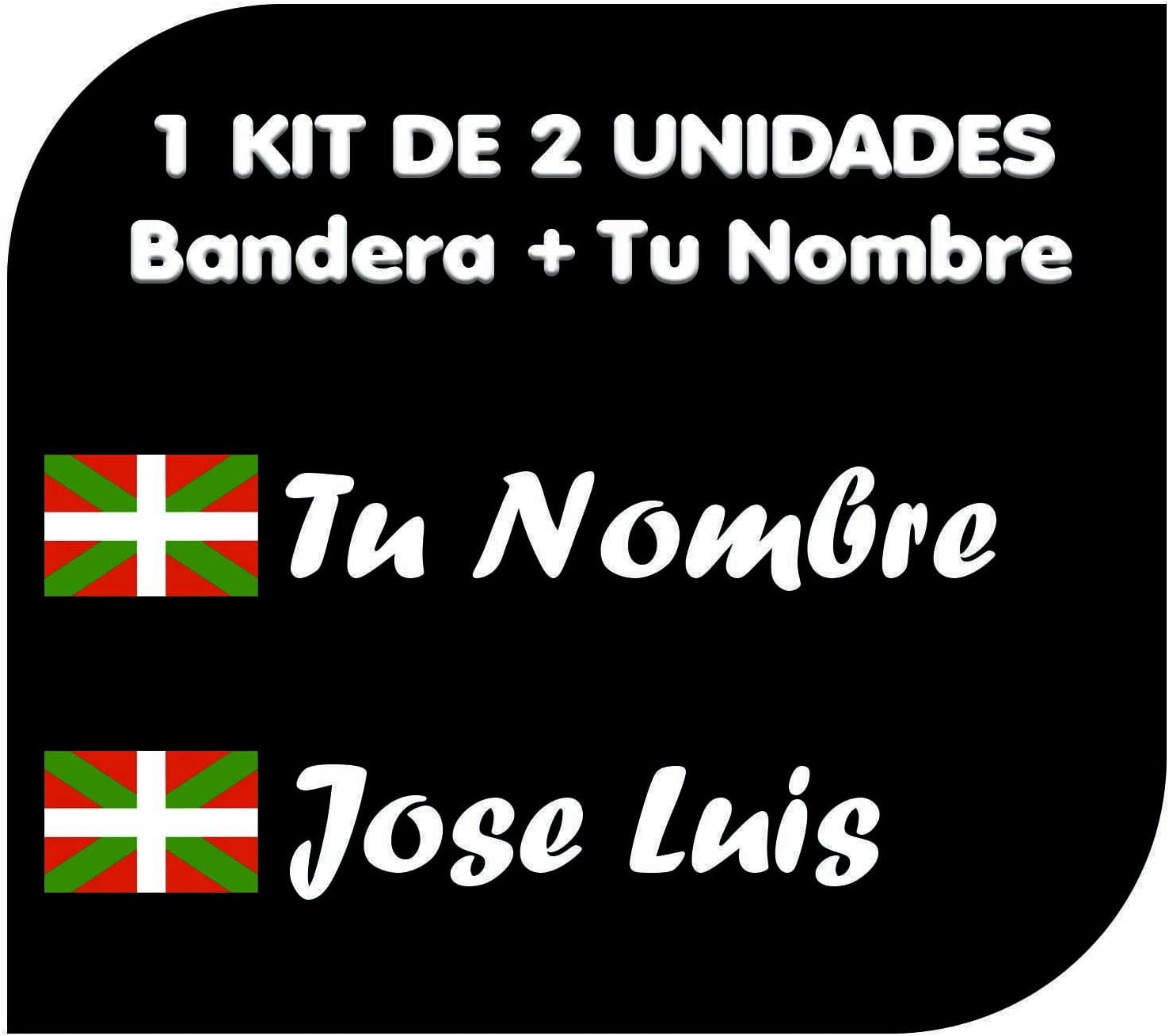 Pegatina Vinilo Bandera Pais Vasco (Ikurriña) + tu Nombre - Bici, Casco, Pala De Padel, Monopatin, Coche, Moto, etc. Kit de Dos Vinilos (Pack Fuentes 1): Amazon.es: Coche y moto