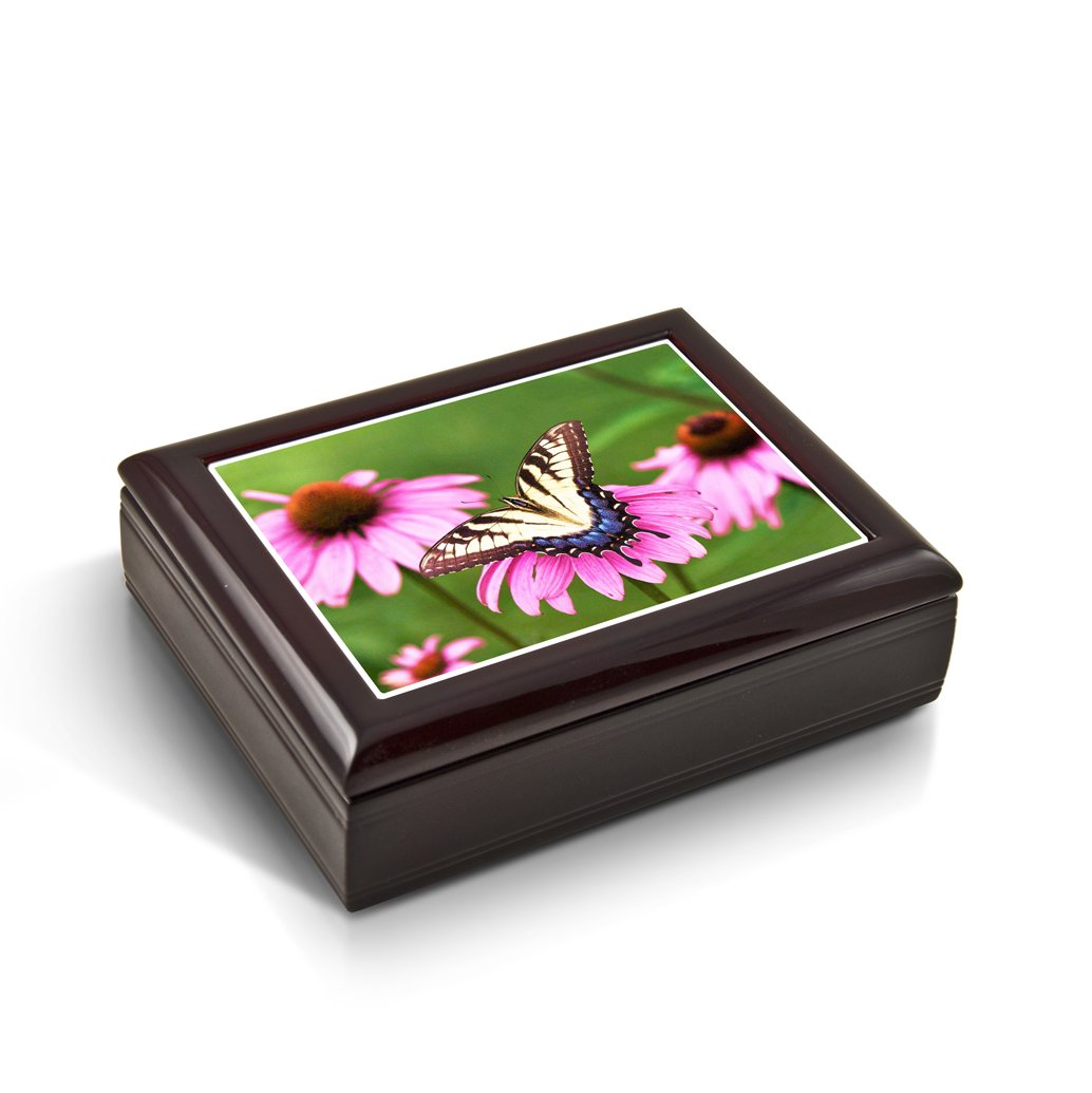 A Gentle Tiger Swallowtail Butterfly And Gerbera Daisies Tile Musical Jewelry Box - Take Me Out to the Ball Game