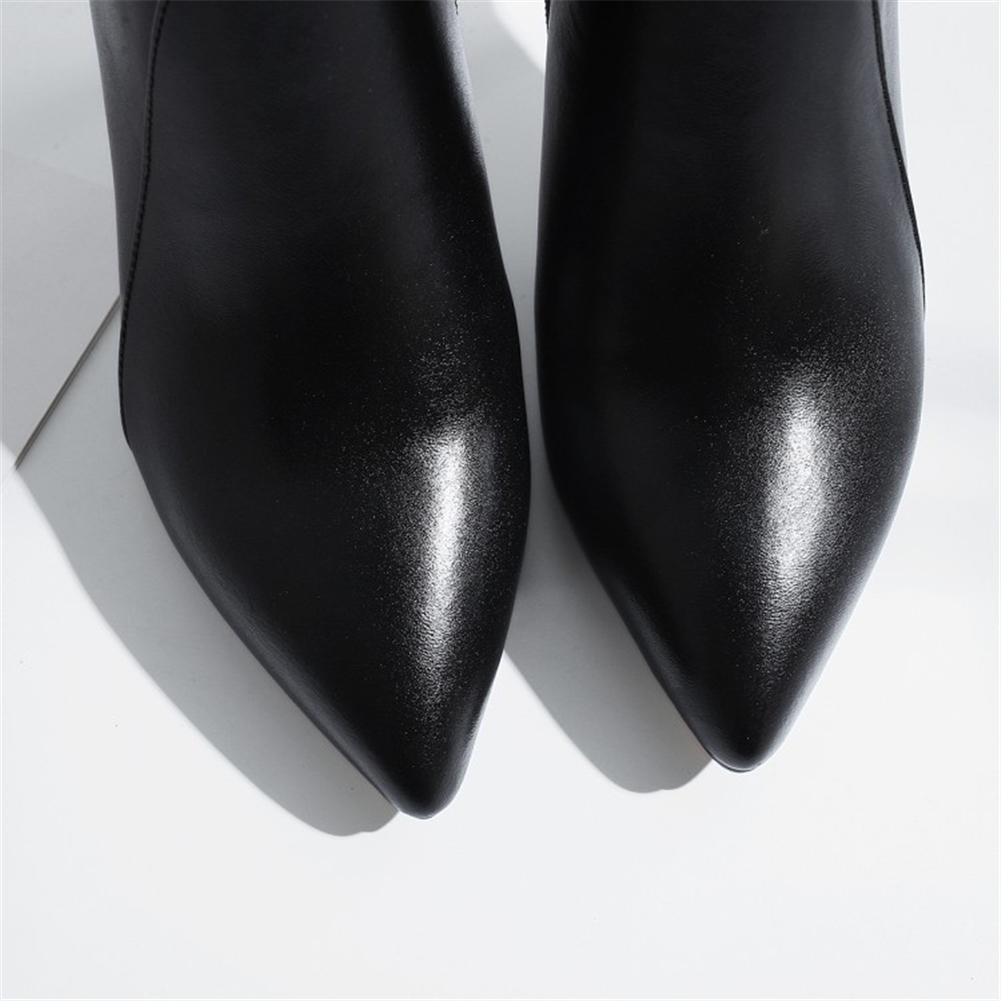 Damen Knöchel Stiefel Schwarz Schwarz Schwarz Stilett Hoch Hacke Spitz Mode Echt Leder Arbeit Abschlussball 25dbc0