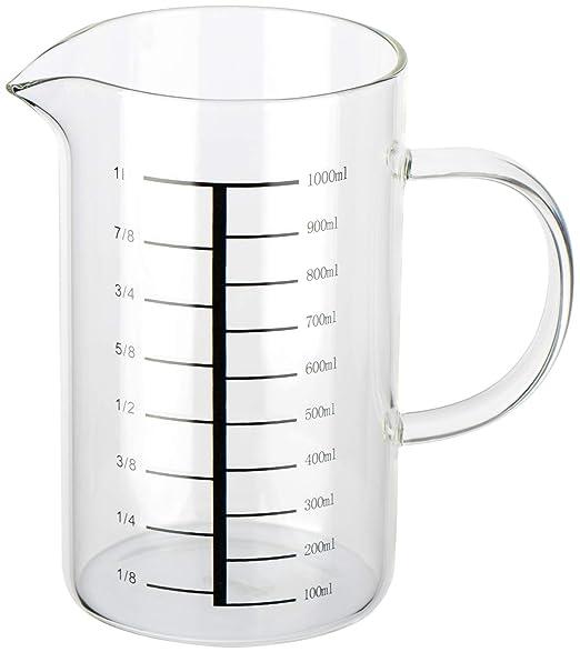 com-four® Vaso medidor de vidrio resistente a la temperatura ...
