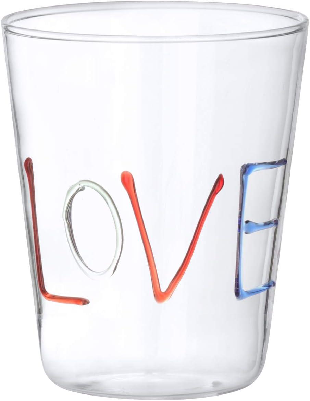 Bicchiere scritta Love in vetro borosilicato da 380 ml Multicolore