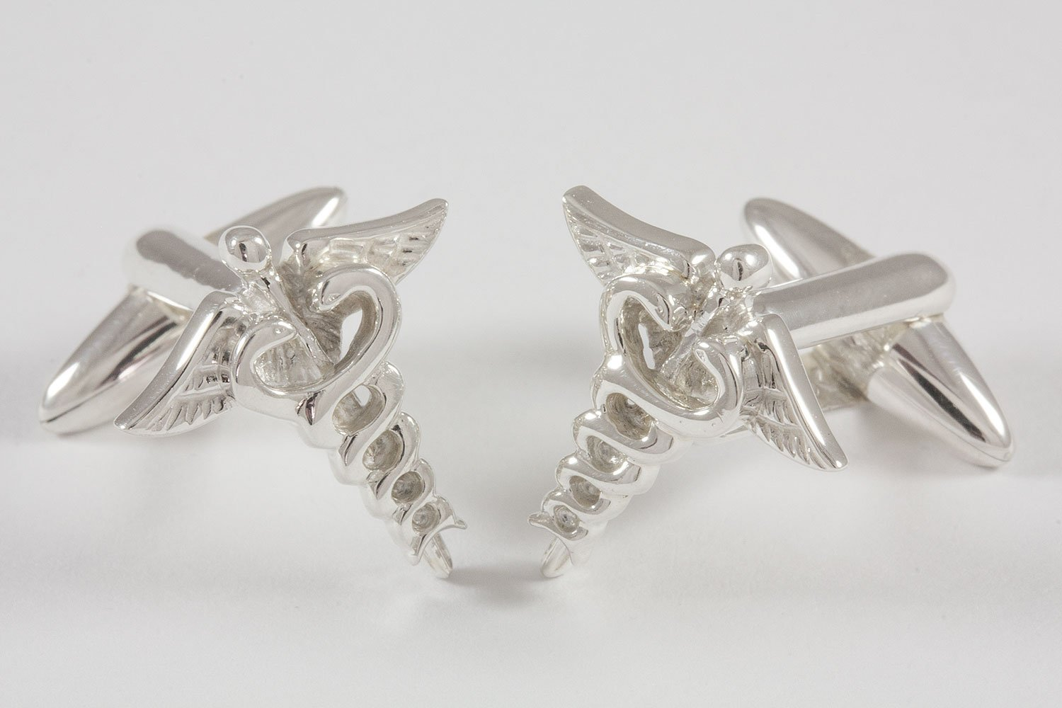 ZAUNICK Medical Doctor Caduceus Cufflinks, Sterling Silver by ZAUNICK (Image #2)