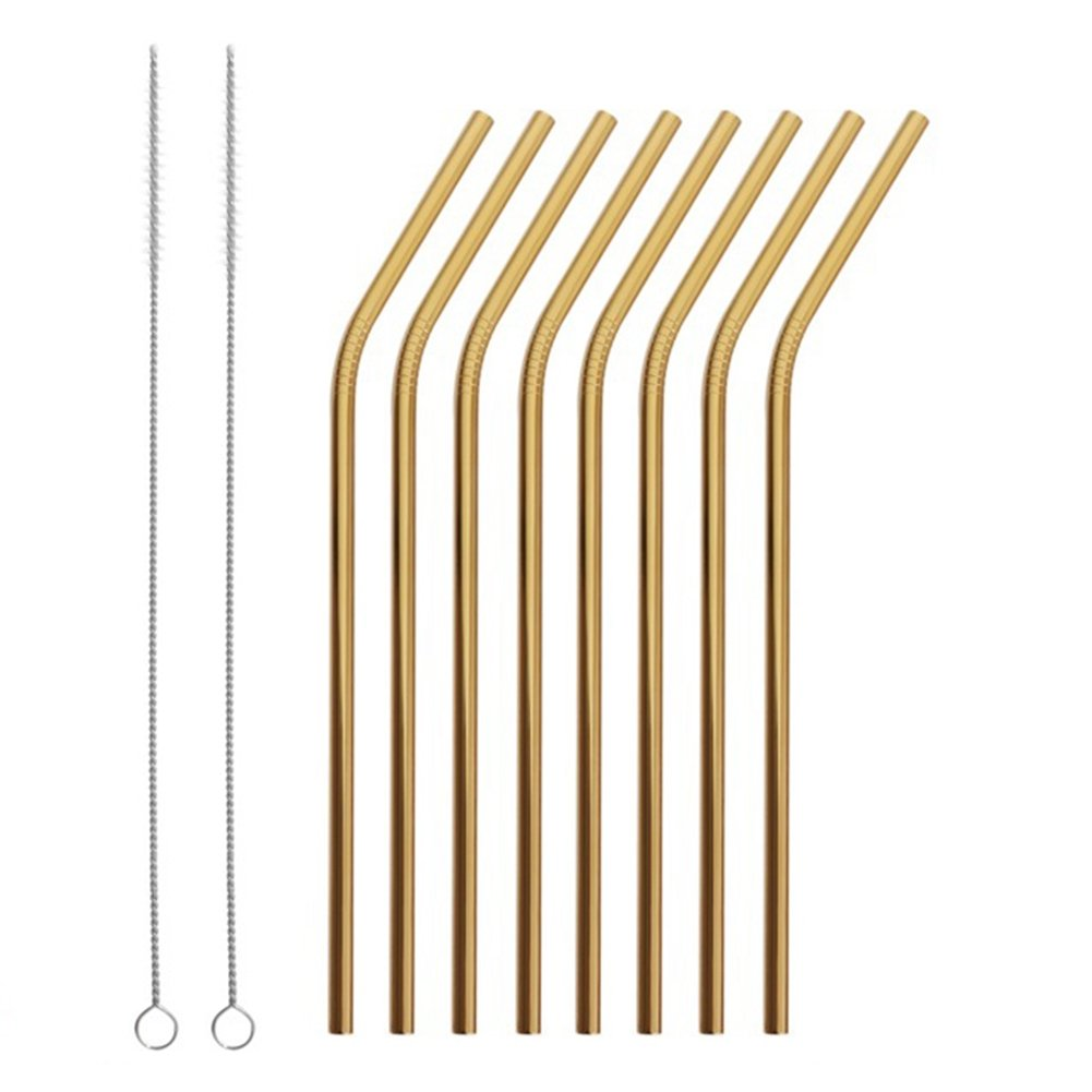 Reusable Stainless Steel Straws Set of 8 Gold Metal Bent Drinking Straws with Cleaning Brush for Cups Mugs Tumblers Ramblers