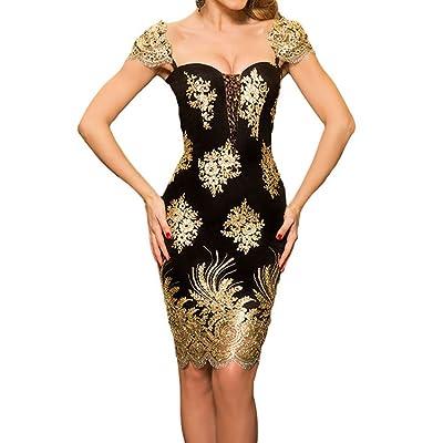 Kalin L Women Sequin Applique Embroidered Puff Sleeve Little Black Dress