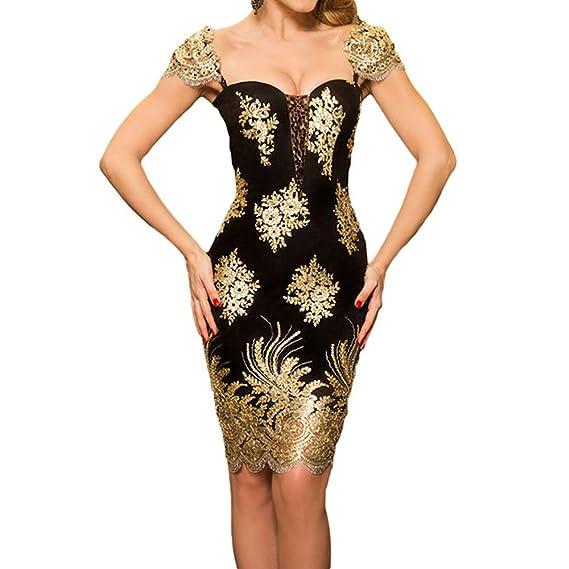 13ce44a799a Uranus Femme Robe de Soirée Manche Courte Vintage Sexy Brillant Robe de  Cocktail  Amazon.fr  Vêtements et accessoires