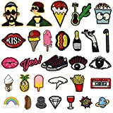 Iron on Patch Embroidery Patches, Satkago 30Pcs DIY Cartoon Patterns Embroidered Patch Sew On Patches Applique for Clothes Jackets T-shirt Jeans Skirt Vests Scarf Hat Bag
