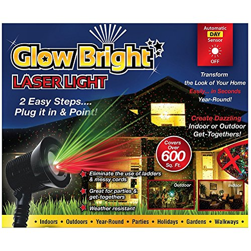 Holiday LED Lighting - Halloween Christmas Light Projector - 02028 Glow Bright Laser Light Show with Remote, Tripod, & Stake - 6 spinning light modes, 3 still light modes. Green -