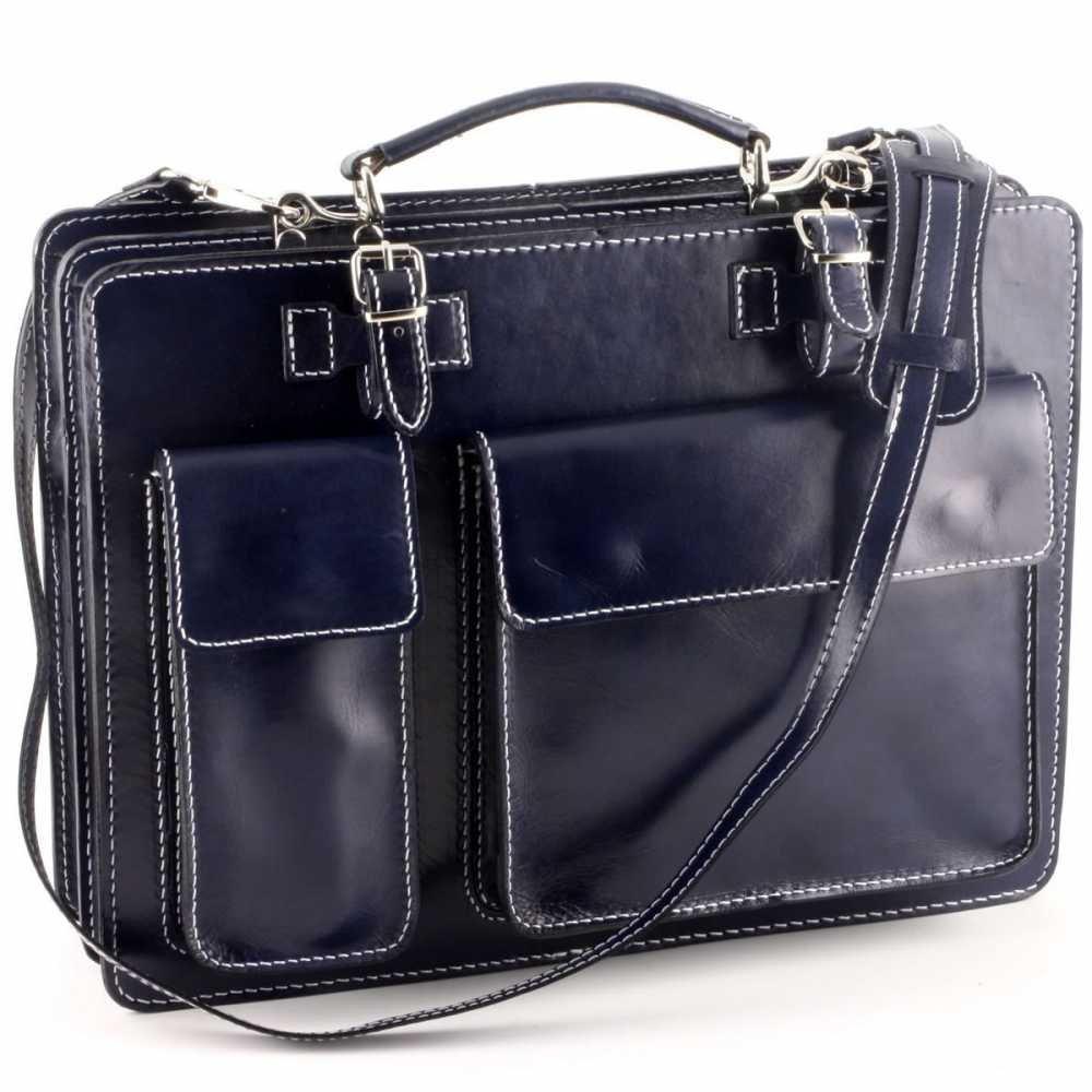 4518030ed8e4e Conti of of of Tuscany Leder Aktentasche Blau - Lederwaren - Aktentaschen  B00IMGI7BI Messenger-Bags e3ed00