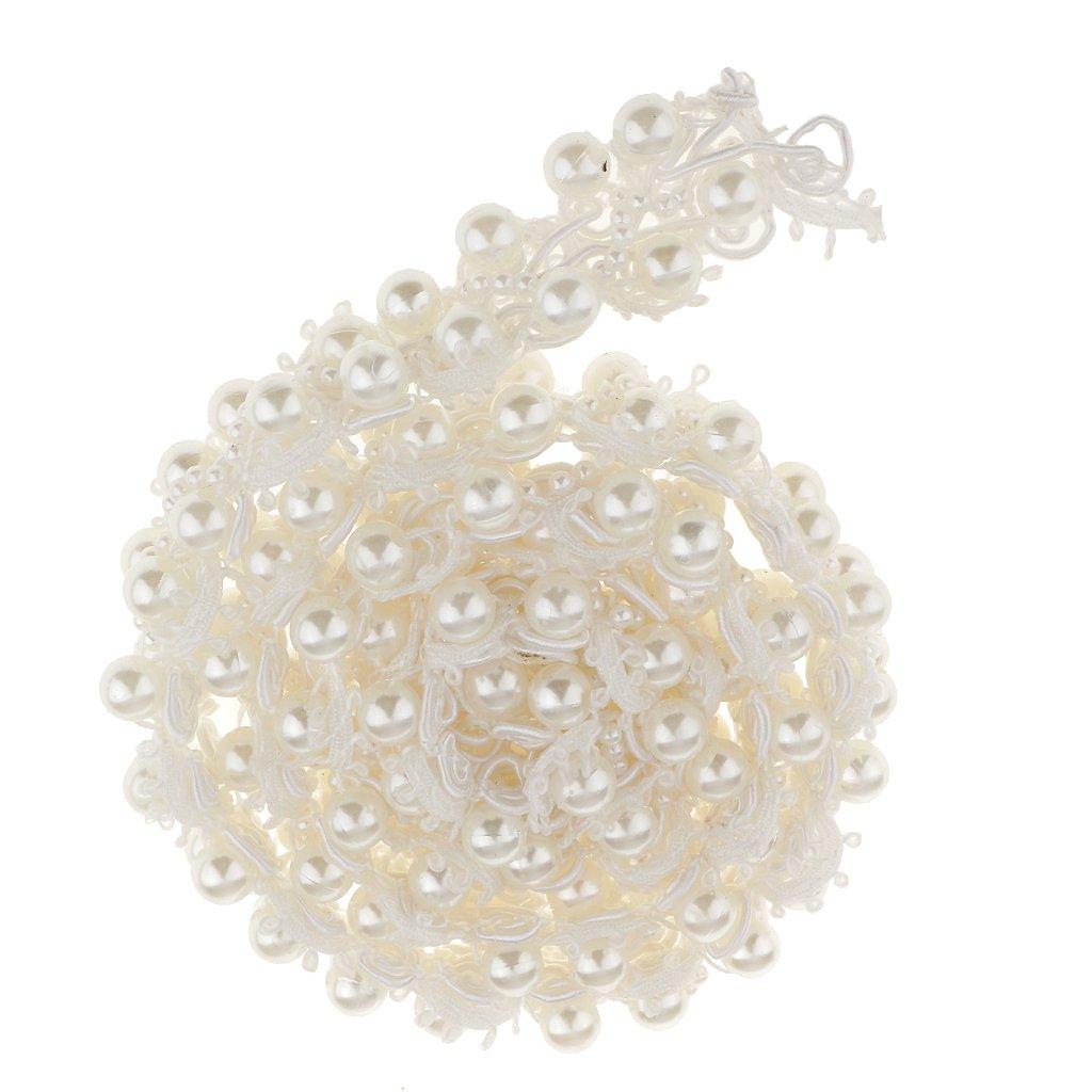 MagiDeal 80cm Applique Cucire Di Perle Fatti A Mano Decorazioni Abito Catena In Rilievo Mestiere Bianco