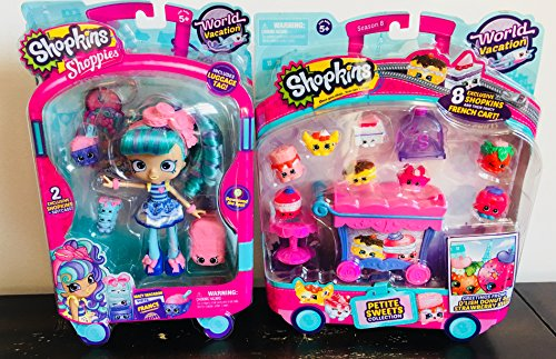 Shopkins Season 8 World Vacation (France, Europe) Gift Set - Shoppie Macy Macaroon Visits France Themed Park + French Petite Sweets Collection - Macys Park