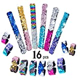 16 Pack Mermaid Slap Bracelets Charm Reversible Sequin Wristbands Magic Wristband Party Favors, Birthday and Christmas Gifts for Girls or Boys