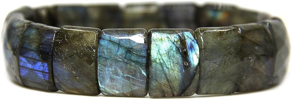 Pulsera ajustable de 17,8 cm con gemas semipreciosas de 15 mm cuadradas y planas, pulsera elástica