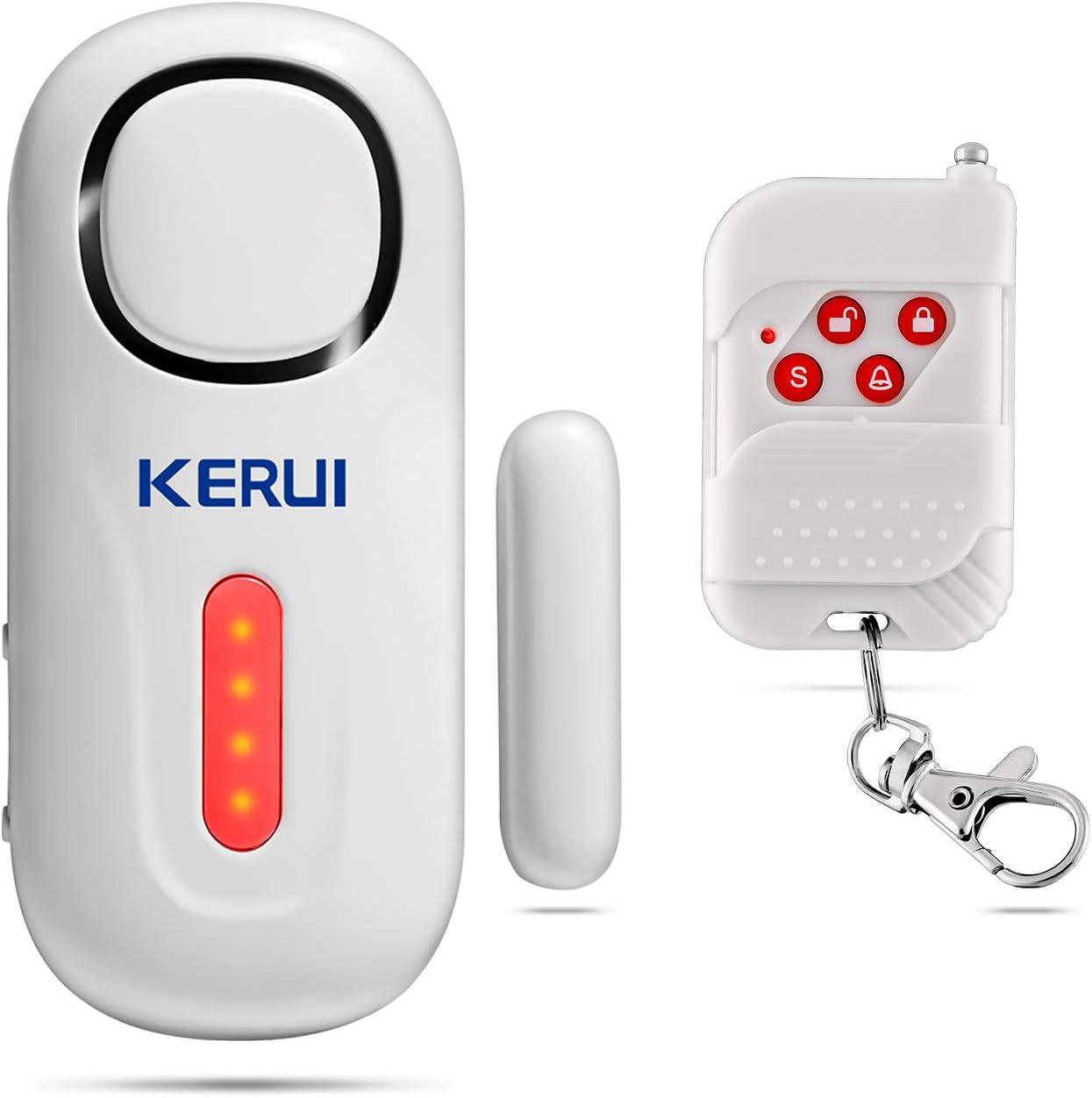 KERUI D2 Alarma de Puerta y Ventana inalámbrico con 120 dB Sonido y Luz para Sistema de Alarma Seguridad Casa, Kit Alarma para Hogar DIY Tal como Sensor Puerta/Detector Movimiento, Fácil de Instalar