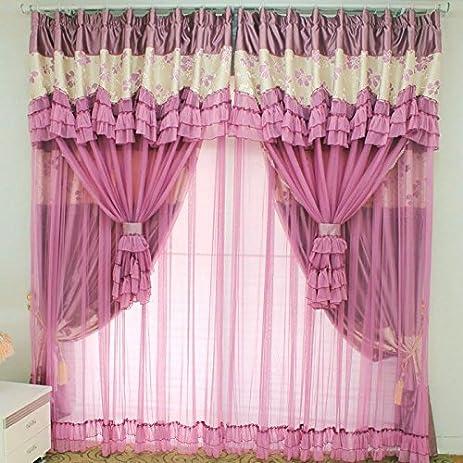 Amazon.com: MZPRIDE Vintage Floral Purple Curtains Fancy ...
