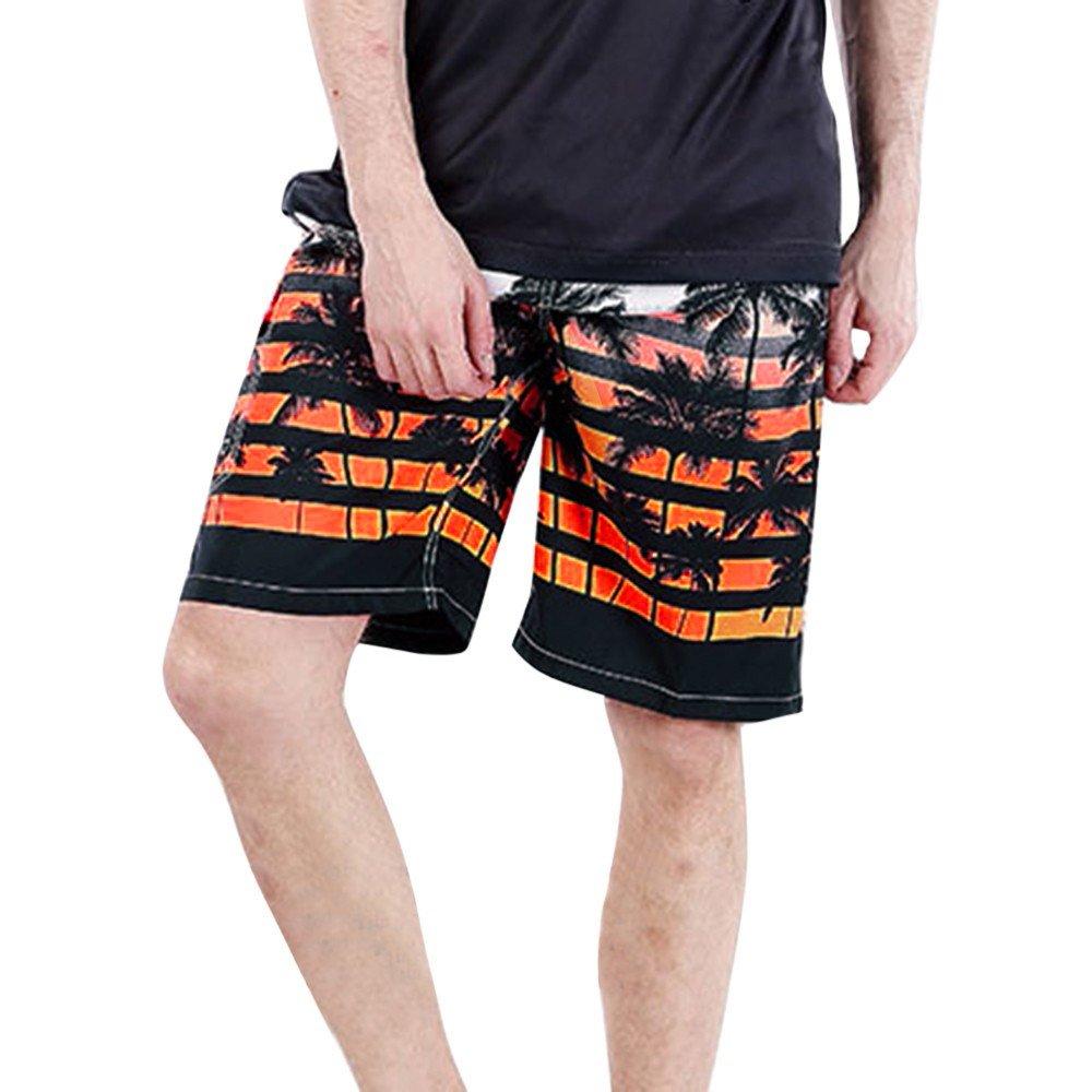 GREFER Men Plus Size Swim Trunks, Summer Print Quick Dry Beach Shorts Great for Surfing Running Swimming Orange