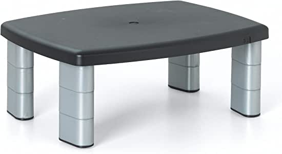 """3M Adjustable Monitor Stand, Three Leg Segments Simply Adjust Height From 1"""" to 5 7/8"""", Sturdy Platform Holds Up to 80 lbs, 11-inch Space Between Columns for Storage, Silver/Black (MS80B)"""