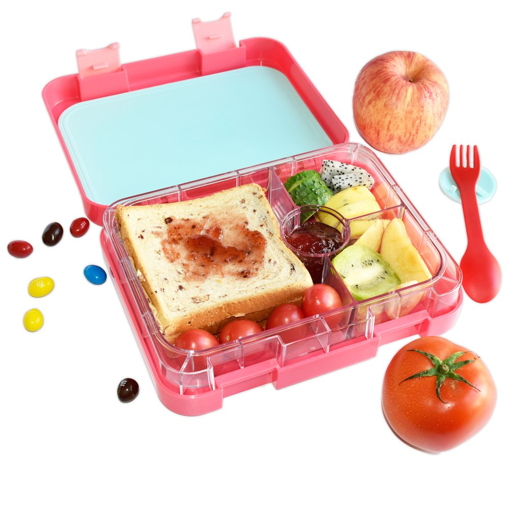 AHOEA Kids School Lunch Box 4 Compartments, Adults Bento Box Plastic, Food Storage Container, Microwave Safe, Blue AOHEA