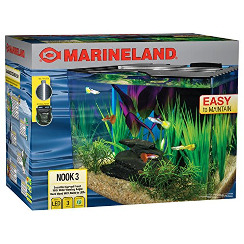 (MarineLand Nook Aquarium Kit with Built-in LEDs and Hidden Filtration )